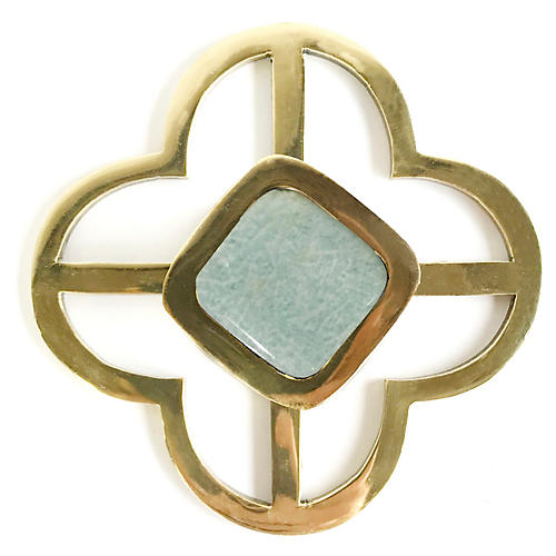 Benson Jones Backplate Pull, Brass/Amazonite