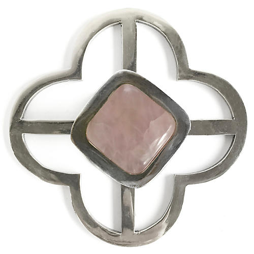 Benson Jones Backplate Pull, Nickel/Rose Quartz