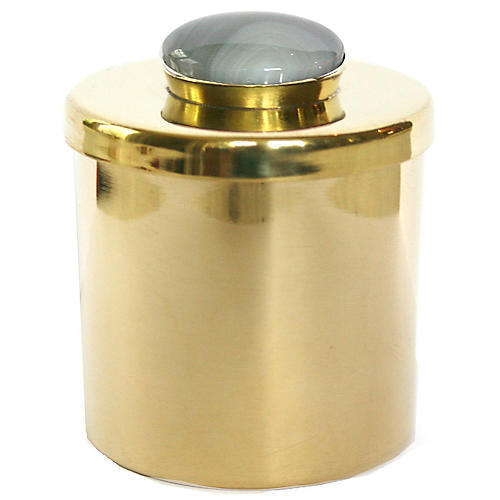 """2"""" Lane Round Box, Brass/Ocean Blue"""