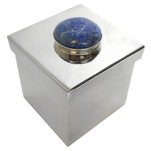 """2"""" Lane Square Box, Lapis/Silver"""