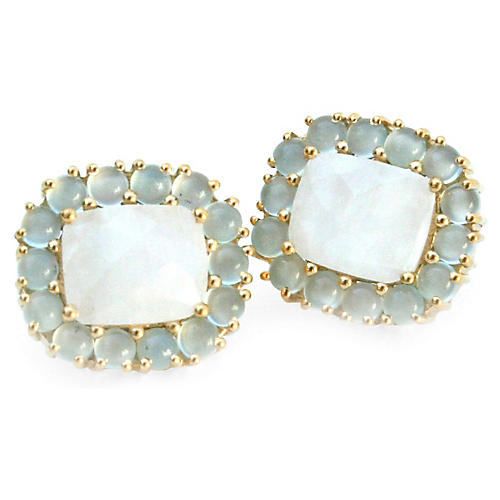 24-Kt Reames Stud Earrings, Moonstone/Aqua