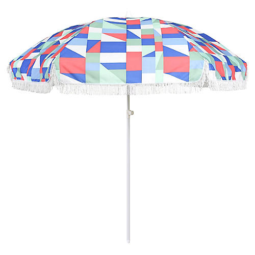 Abstract Beach Umbrella, Pink/Multi