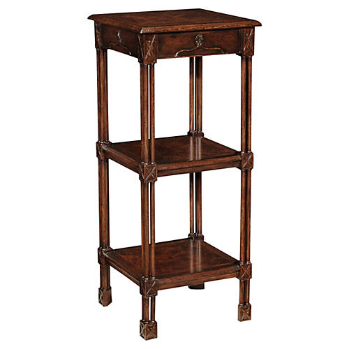 "Chippendale 40"" Tall Etagere, Walnut"