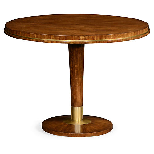 "Finley 40"" Round Dining Table, Natural/Brass"