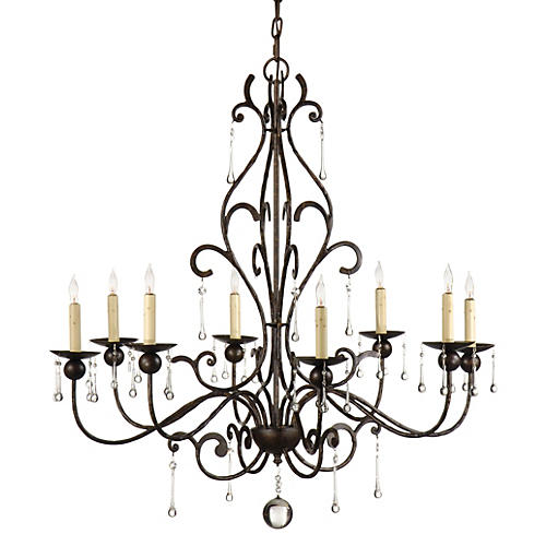 Teardrop Chandelier, Old World Iron