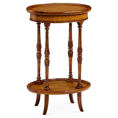 Leather Inset Oval Side Table, Walnut