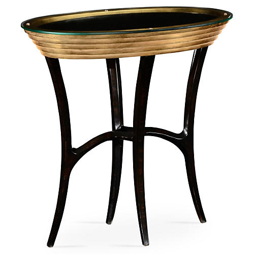 Stepped Gilded Oval Side Table, Black