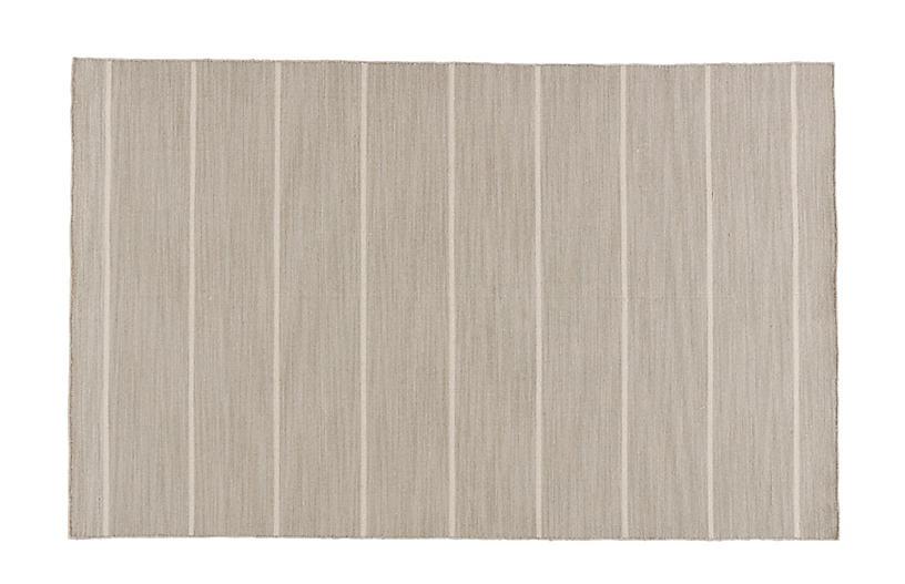 Stripe Flat-Weave Rug, Beige/Ivory