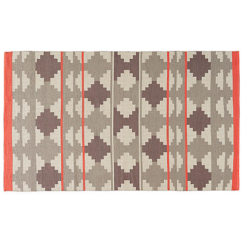 Tupelo Flat-Weave Rug, Gray/Pink