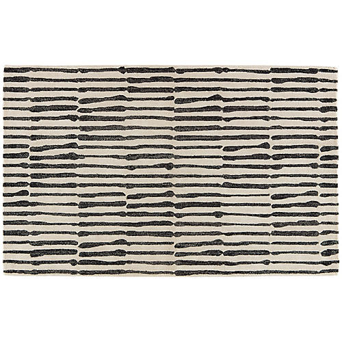Risley Rug, Black/White
