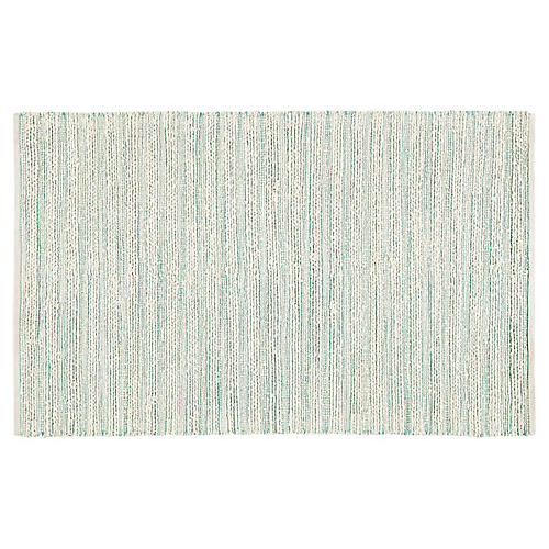 Yarid Flat-Weave Rug, White/Turquoise