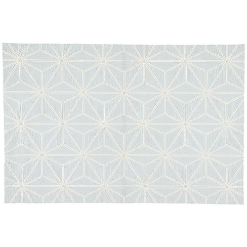 Calabro Outdoor Rug, Light Blue/White