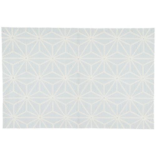 Calabro Outdoor Rug, Light Blue/White
