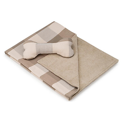 Blanket & Bone Toy Set, Pecan
