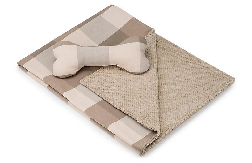 Blanket & Bone Toy Set - Pecan