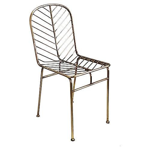 Jani Side Chair, Antiqued Brass