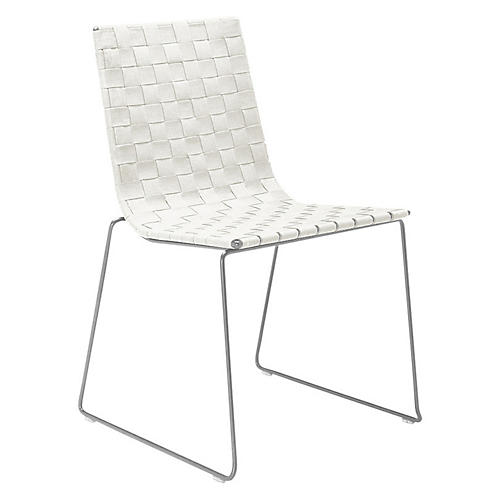 Trenza Side Chair, Silver/White