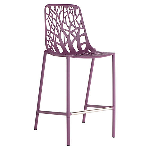 Forest High-Back Counter Stool, Plum