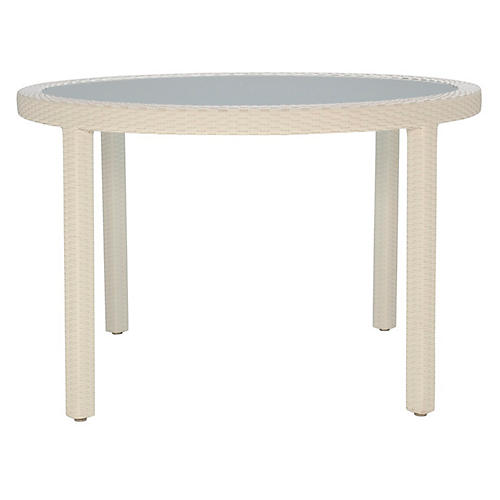 Outdoor Round Dining Table, Limestone