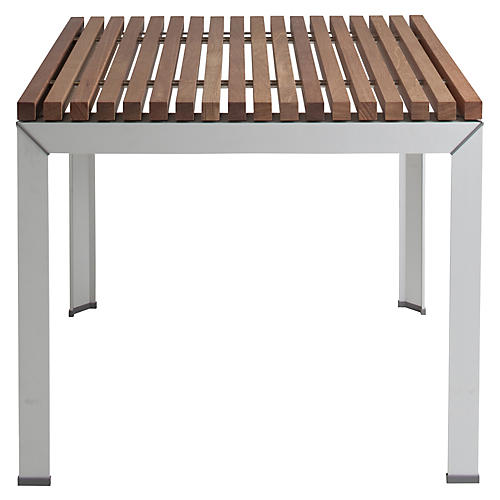 Ex Tempore Square Dining Table, Silver/Natural