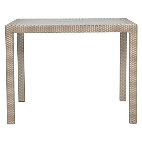 Glass-Top Square Dining Table, Ivory
