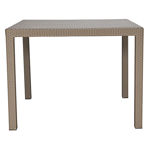 Woven Square Dining Table, Light Brown