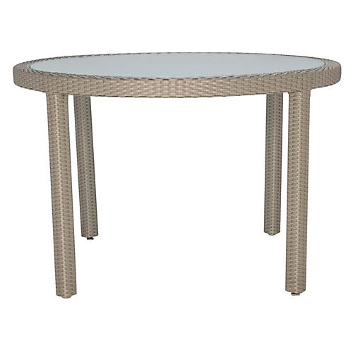 Glass-Top Round Dining Table, Light Brown