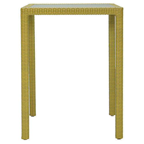 JANUSfiber Square Outdoor Bar Table, Bamboo
