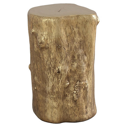 Small Log Stool, Gold