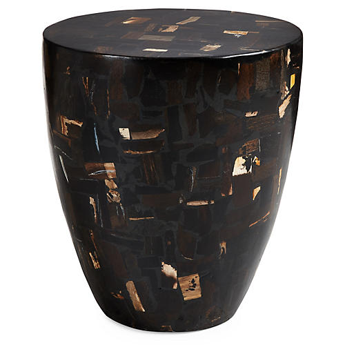 "Mosaic Drum 14"" Side Table, Black Multi"