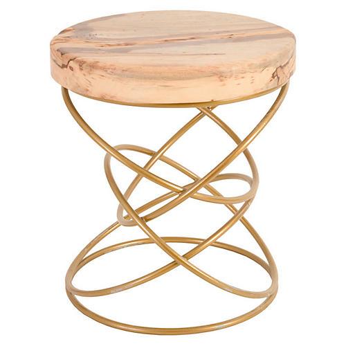 Spiral Brass Stool, Gold