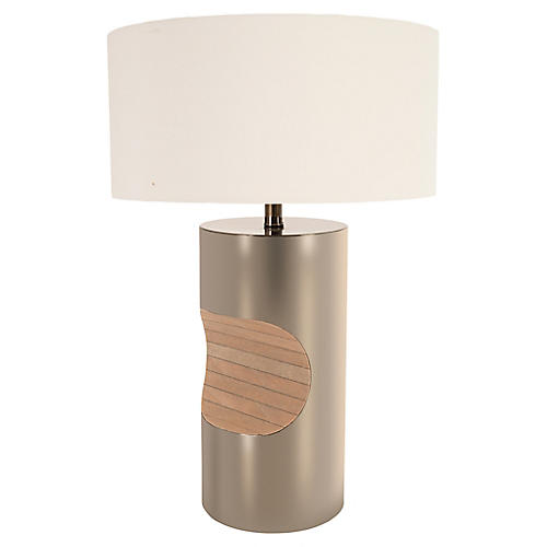 Bite Table Lamp, Polished Nickel/Natural