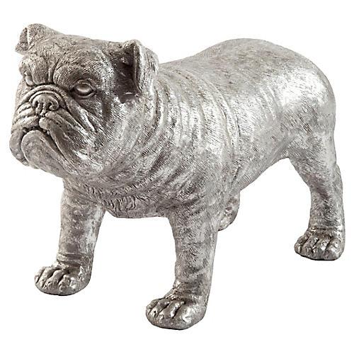 "24"" Bulldog Figure, Silver"