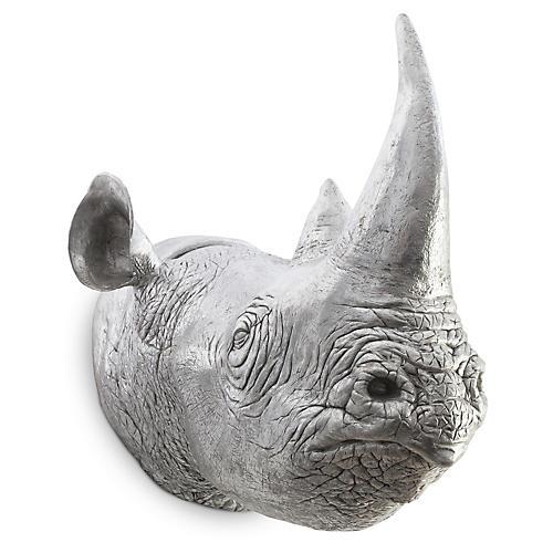 Rhinoceros Wall Accent, Silver