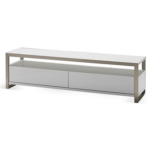 """63"""" Brando TV Stand, White/Silver"""