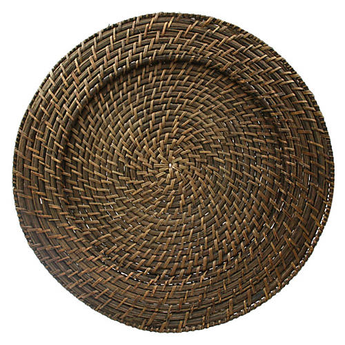 S/4 Round Rattan Chargers, Natural
