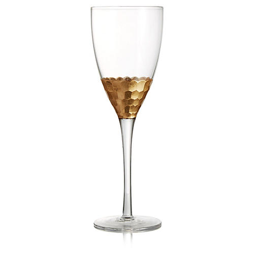 S/4 Daphne Red-Wine Glasses, Gold/Clear