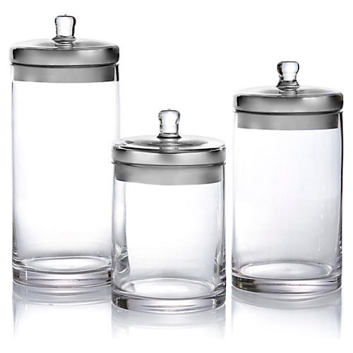 S/3 Glass Canisters w/ Silver Lids