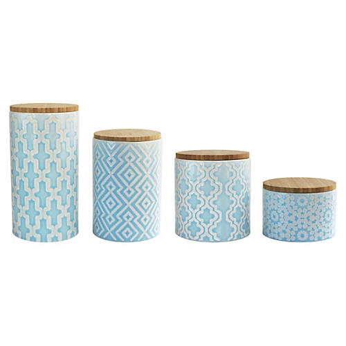 4-Pc Arabesque Blue Canister Set