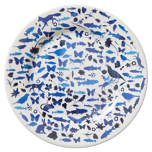 S/4 Animals Melamine Salad Plates, Blue/White