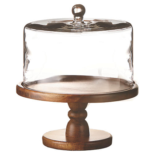 Waverly Cake Stand, Clear/Brown