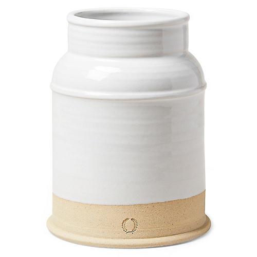 "9"" Milk Jug Medium Vase, White/Natural"