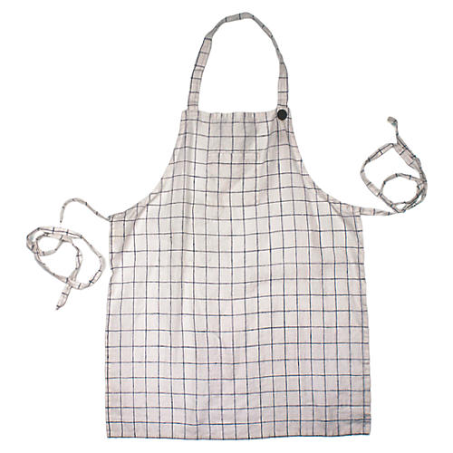 Washed Apron, White/Blue