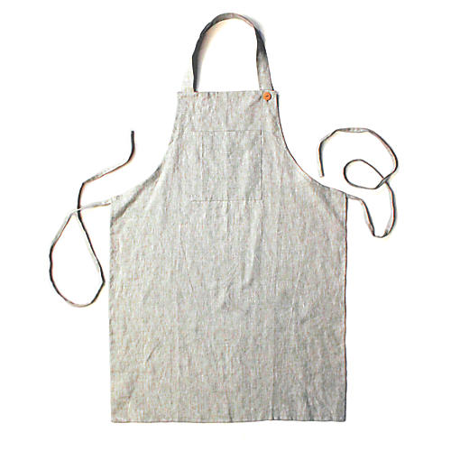 Washed Apron, Light Gray