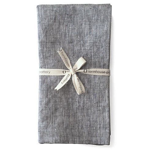 S/4 Washed Dinner Napkins, Dark Gray