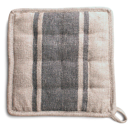 S/2 Handloom Pot Holders, Natural/Gray