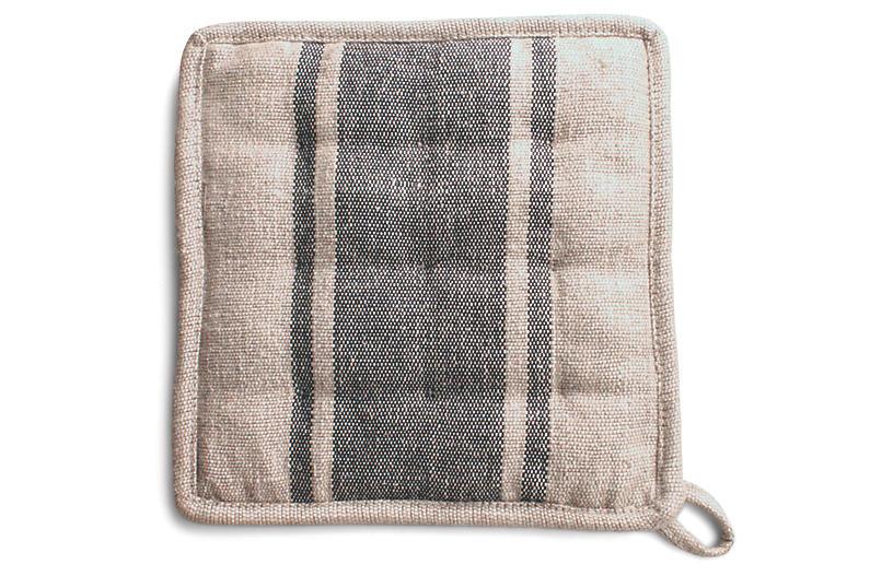 S/2 Handloom Pot Holders, Natural/Gray