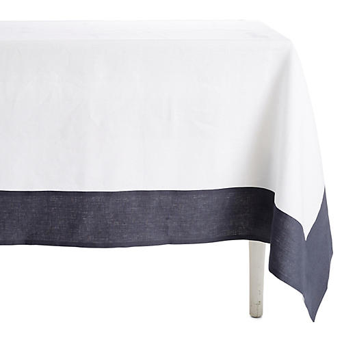 Hamptons Wine-Resistant Tablecloth, White/Gray