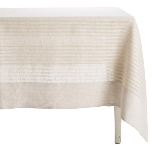 Greenwich Wine-Resistant Tablecloth, Beige