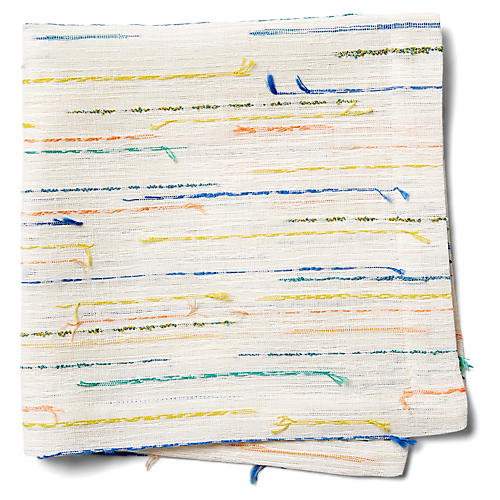 S/4 Capri Dinner Napkins, White/Multi